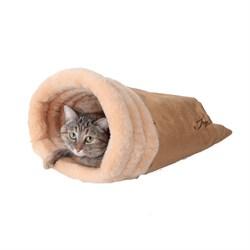 Нора меховая 47х42х18см JOY бежевая для кошек - фото 7977