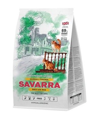 Корм 2кг SAVARRA Hairball утка/рис от комочков шерсти в желудке для кошек  (5649141) - фото 8022