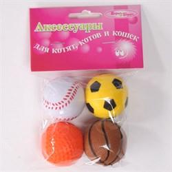 Мяч Неон Шурум-Бурум каучуковая игрушка для кошек (уп.4 шт) - фото 8223