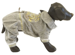 Комбинезон L JOY велюровый с вышивкой серый для собак (RUS04001) - фото 9133