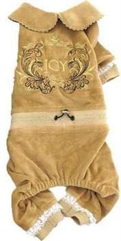 Комбинезон S JOY велюровый с вышивкой коричневый для собак (RUS04001) - фото 9135