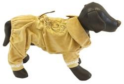 Комбинезон L JOY велюровый с вышивкой коричневый для собак (RUS04001) - фото 9137