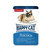 Корм 100г Хэппи кэт лосось кусочки в желе для стерилизованных кошек(1004211)
