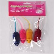 Мышь 6см Шурум-Бурум велюровая игрушка для кошек (уп.4шт) (CT14179)