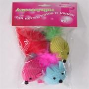 Мышь 6см Шурум-Бурум с пушистым хвостиком текстильная игрушка для кошек (уп.4шт) (CT12049)