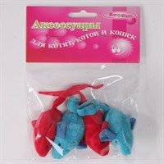 Мышь 6см Шурум-Бурум текстильная игрушка для кошек (уп.4шт) (CT13015)