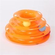 Трек оранжевый 3 яруса Шурум-Бурум игрушка для кошек (СТ18086 25cm)