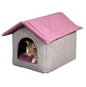 Дом со съемной крышей 53х41х39см JOY серо-фиолетовый для кошек