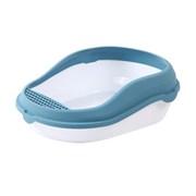 Туалет 50,5х39х16см Шурум-Бурум с голубым бортиком для кошки (Р959)