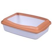 Туалет 41х31х13см Шурум-Бурум белый с оранжевым бортиком для кошек (Р952)