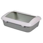 Туалет 41х30х14см Шурум-Бурум серый с бортиком для кошек (Р547)