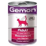 Корм 415г GEMON кусочки говядина для кошек ж/б (70300704)