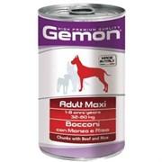 Корм 1250г GEMON кусочки говядины с рисом для собак крупных пород ж/б (70387903)