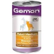 Корм 1250г GEMON кусочки курицы с индейкой для собак средних пород ж/б (70387927)