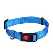 Ошейник 25мм, 45-70см L JOY стропа синяя со светоотражающими элементами для собак