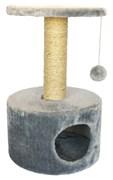 Домик круглый 38х38х60см Шурум-Бурум серый для кошек