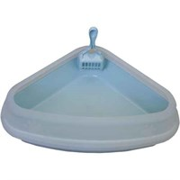 Туалет угловой 54х40х15см Шурум-Бурум голубой с совком для кошек (P666)