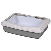 Туалет 41х30х11см Шурум-Бурум серый с бортиком и сеткой для кошек (А970)