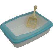 Туалет 41х30х11см Шурум-Бурум белый с голубым бортиком и сеткой для кошек (P971)