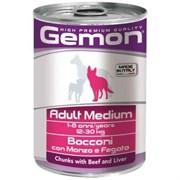 Корм 415г GEMON кус.говядины с печенью д/собак средних пород (70387859)