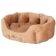 Лежанка круглая 60х50х21см JOY бежевый бархат для собак