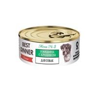 Корм 100г Best Dinner Premium Меню №3 с говядиной и кроликом для собак ж/б (7606)
