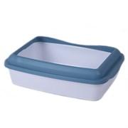 Туалет 41х31х13см Шурум-Бурум белый с синим бортиком для кошек (Р952)