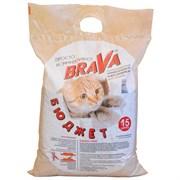 Наполнитель 15л BRAVA БЮДЖЕТ минеральный для кошек