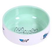 """Миска 12,5 380мл JOY """"Коты с рыбками"""" керамическая зеленая для кошек"""