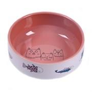 """Миска 12,5см 380мл JOY """"Коты с рыбками"""" керамическая лосось для кошек"""
