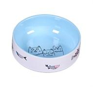"""Миска 12,5см 380мл JOY """"Коты с рыбками"""" керамическая голубая для кошек"""
