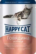 Корм 100г Хеппи Кэт говядина,птица в соусе для кошек (1002315)
