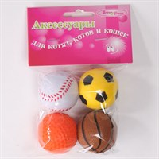 Мяч Неон Шурум-Бурум каучуковая игрушка для кошек (уп.4 шт)
