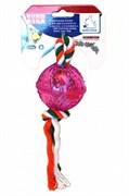 Шар с канатом 15,2хD6,2 см Шурум-Бурум TPR игрушка для собак (А1025)