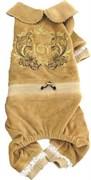 Комбинезон S JOY велюровый с вышивкой коричневый для собак (RUS04001)